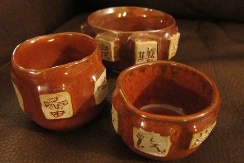 3 Ceramic Bowls with Kanji by Paul D. Goodman