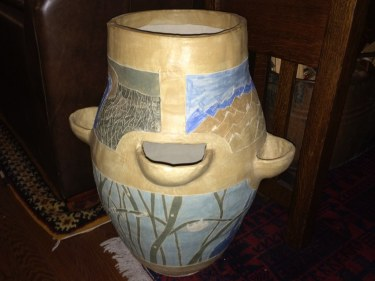 Paul large ceramic pot painted with slip November 2015