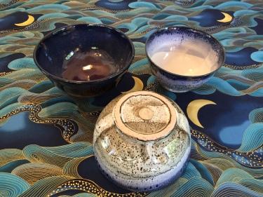 on Blue - 3 ceramic bowls Paul D. Goodman August 2016
