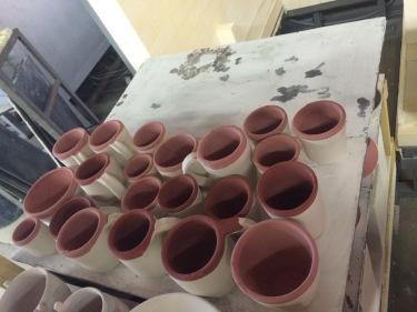 Paul ceramic cups unfired March 2016