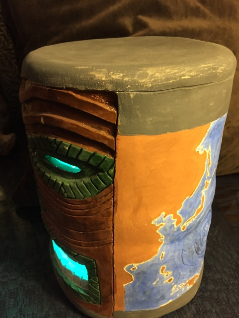 Paul D. Goodman tiki head with Pacific map 2015