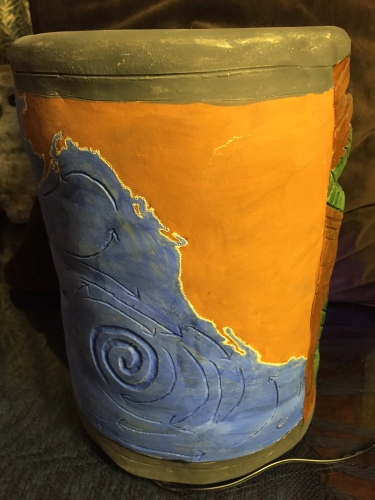 Paul lighted tiki head with Pacific map 2015