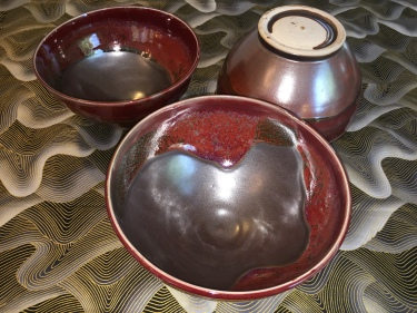3 red ceramic bowls by Paul D. Goodman, October 2016