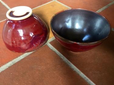 2 red ceramic bowls by Paul D. Goodman, Dec 2016