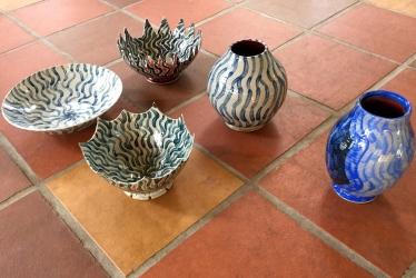 3 painted ceramic bowls, 2 vases by Paul D. Goodman, Dec 2016