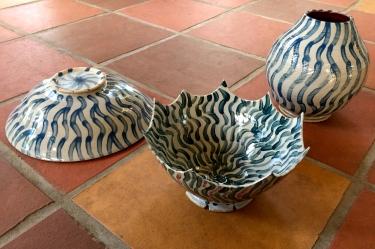 2 painted ceramic bowls, 1 vase by Paul D. Goodman, Dec 2016