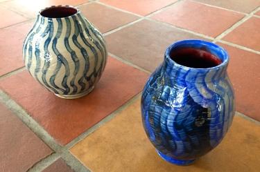 2 painted ceramic vases by Paul D. Goodman, Dec 2016
