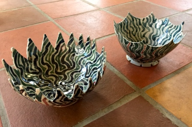 2 crenellated ceramic bowls by Paul D. Goodman, Dec 2016