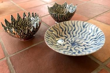 3 painted ceramic bowls by Paul D. Goodman, Dec 2016