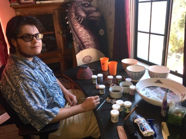 Paul D. Goodman painting ceramics, July 2017