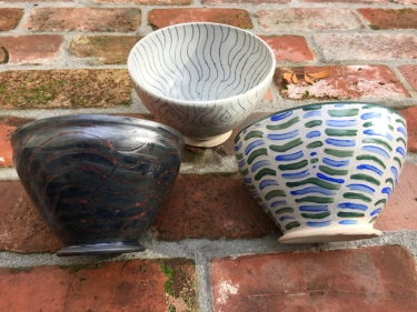 Paul D. Goodman 3 carved and painted ceramic bowls, November 2017