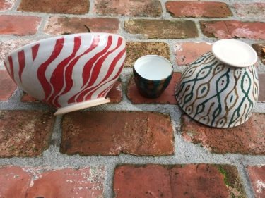 Paul D. Goodman 2 carved and painted ceramic bowls and one cup, November 2017