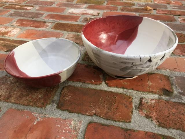 Paul D. Goodman 2 white, grey, red ceramic bowls, November 2017
