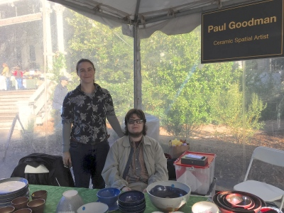 Paul D. Goodman and Jessica Dickinson Goodman, Peninsula School Craft Fair, 3 Dec 2017, Menlo Park CA