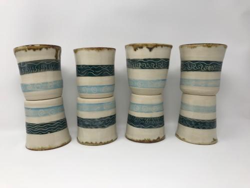Paul D Goodman 1904-Cup1.1-1.8, ceramic carved sgraffito cups, April 2019