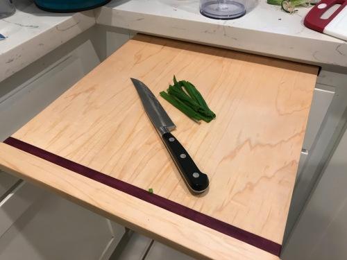 Paul D Goodman, Maple and purpleheart cutting board insert, June 2020